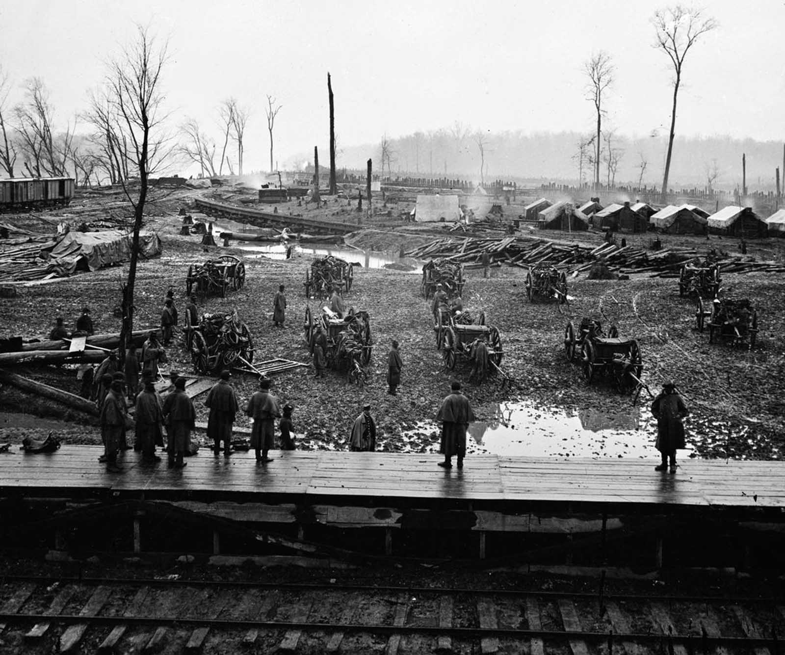The camp of the Tennessee Colored Battery, pictured during the Siege of Vicksburg at Johnsonville, Tennessee, in 1864.