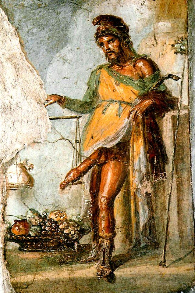 Τοιχογραφία του Πρίαπου, Οικία των Βέττι, Πομπηία. Εμφανίζεται να ζυγίζει το τεράστιο από τη στύση πέος του.