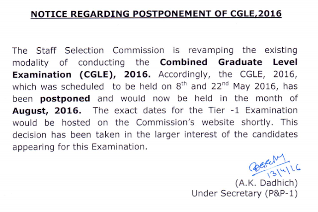 Official Notice regarding Postponement of SSC CGL 2016 Exam