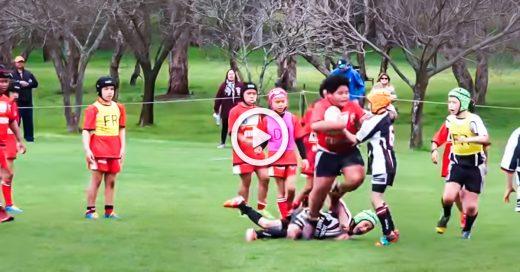 Niño en modo bestial está listo para ligas mayores de rugby