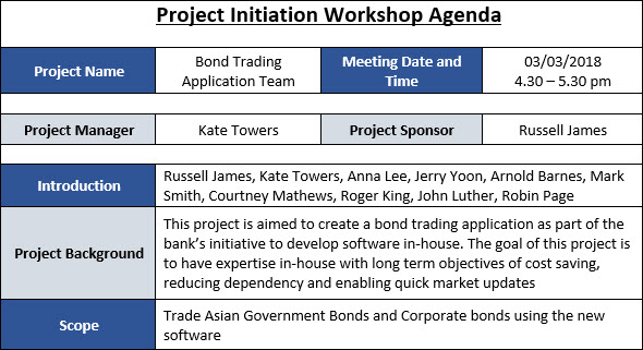 To make your pm meetings seamless put the agenda for each meeting into a shared doc and link to it in the invite, let attendees add to the agenda … Project Initiation Workshop Agenda