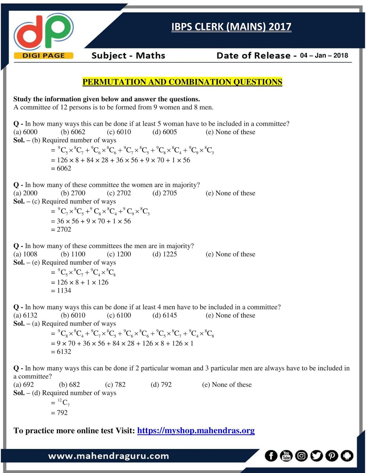 Permutation and combination tricks for bank exams pdf printer