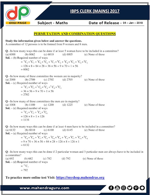 DP | Permutation And Combination Questions For IBPS Clerk Mains | 04 - 01 - 18