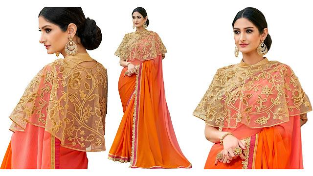 UrbanNari Embroidered Fashion Georgette, Net Saree  (Orange, Gold)