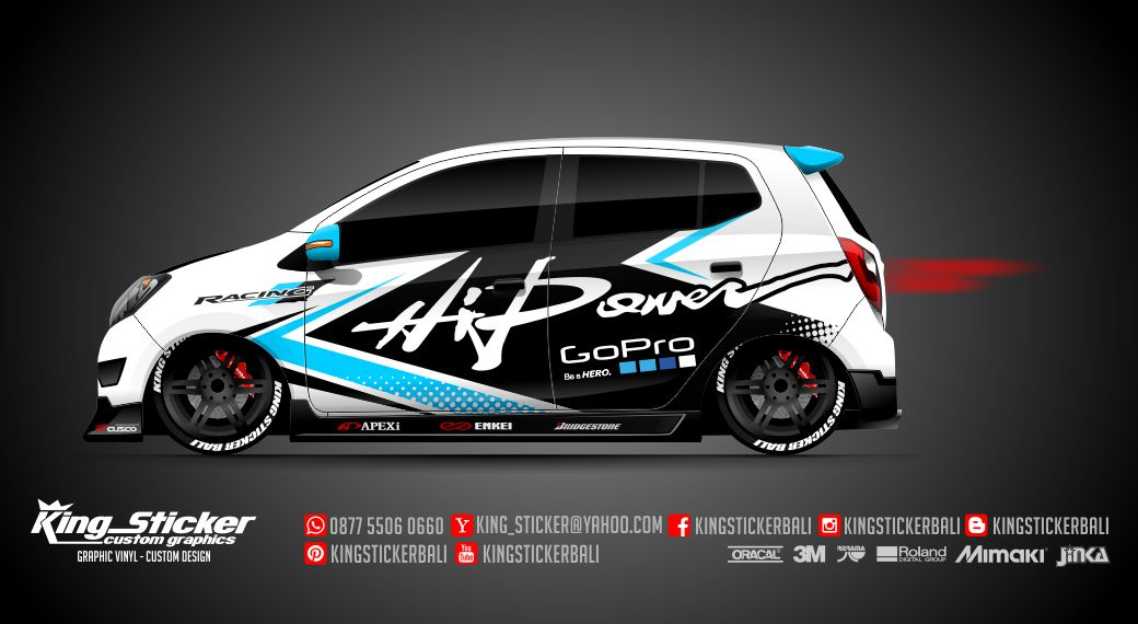 Sticker Mobil Agya Ayla Hi Power Racing King Sticker Bali