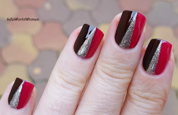 Life World Women Elegant Dark Red Brown Gold Striping Tape Nail Art