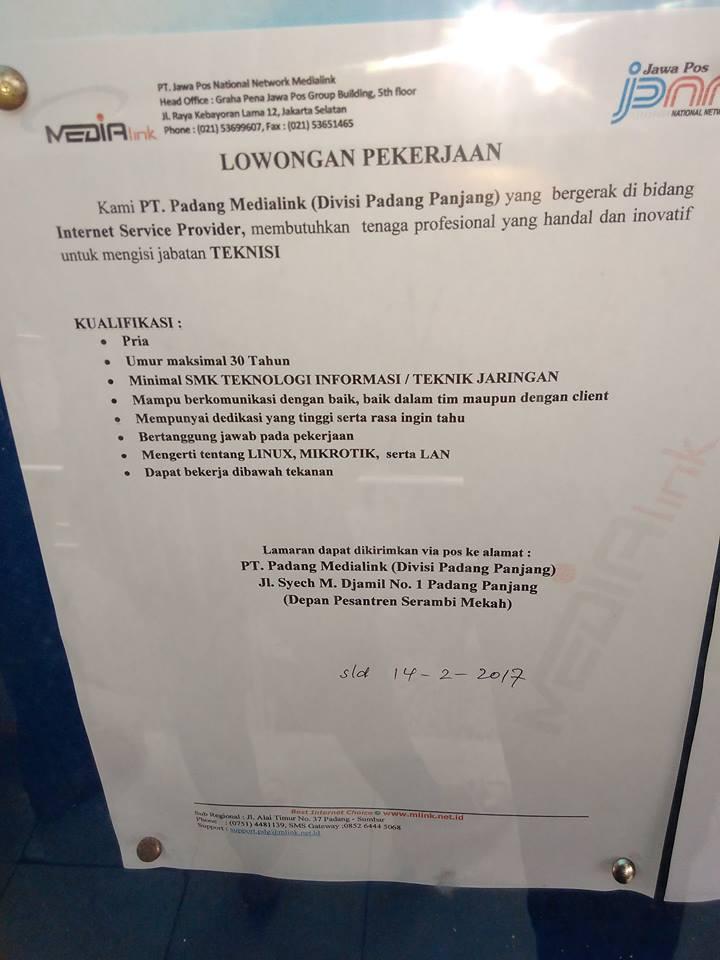 Lowongan Kerja di Padang Panjang – PT.Padang Medialink – Teknisi (Februari 2017)