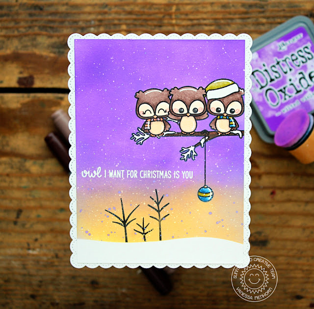 Sunny Studio Stamps: Happy Owlidays Fancy Frames Dies Non-Traditional Colored Christmas Card by Vanessa Menhorn