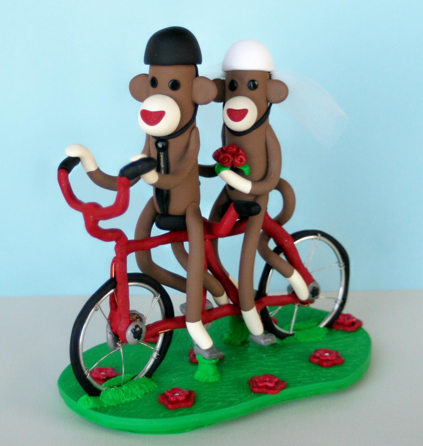 Spiritmama Art And Soul Sock Monkeys On A Tandem Bicycle Wedding Cake Topper