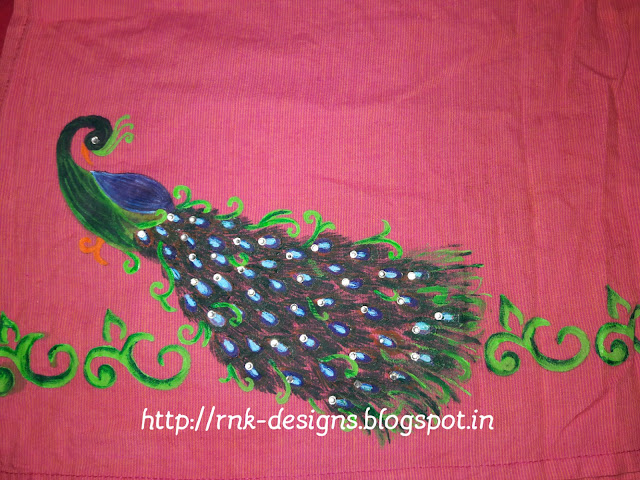 Fabric-painting-peacock