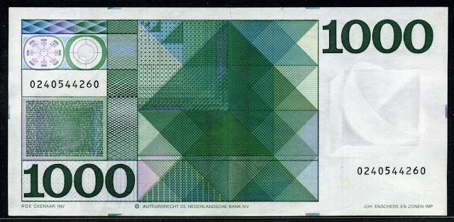 Netherlands paper money currency 1000 Gulden note bill