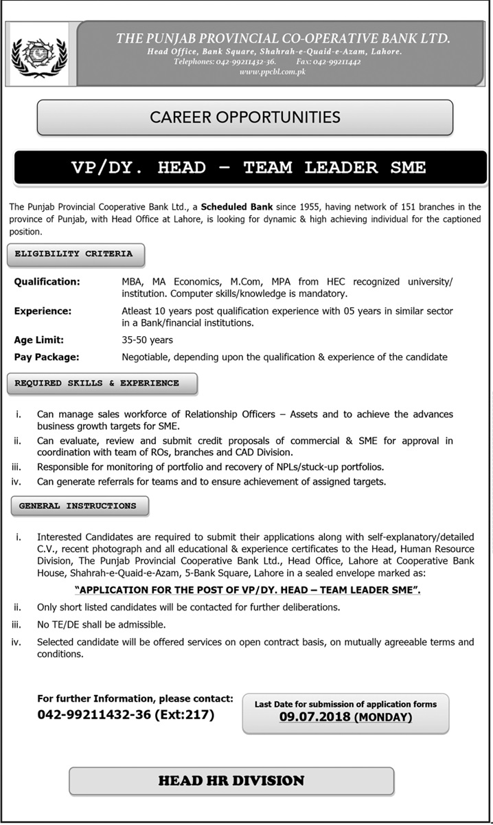 The Punjab Provincial Cooperative Bank Ltd Fresh Career Opportunities
