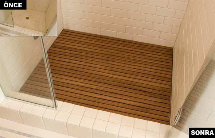 banyo tahta ahşap zemin