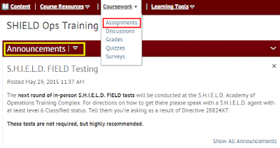 a screenshot showing the change to Announcements and Assignments on the course homepage in BOLT
