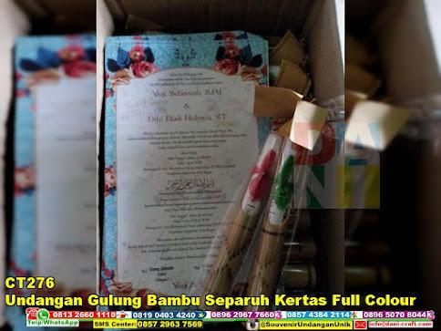 jual Undangan Gulung Bambu Separuh Kertas Full Colour