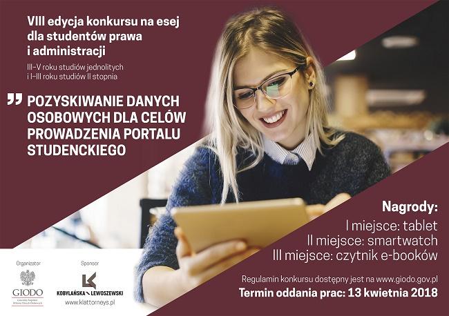 Konkurs GIODO i PwC Legal na esej - VIII edycja - plakat reklamowy