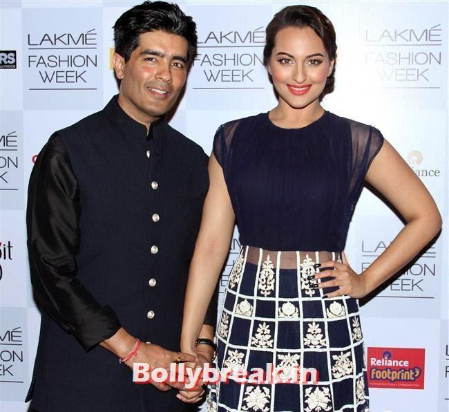 Manish Malhotra and Sonakshi Sinha, Bollywood Actresses at Manish Malhotra Show at LFW Summer Resort 2014