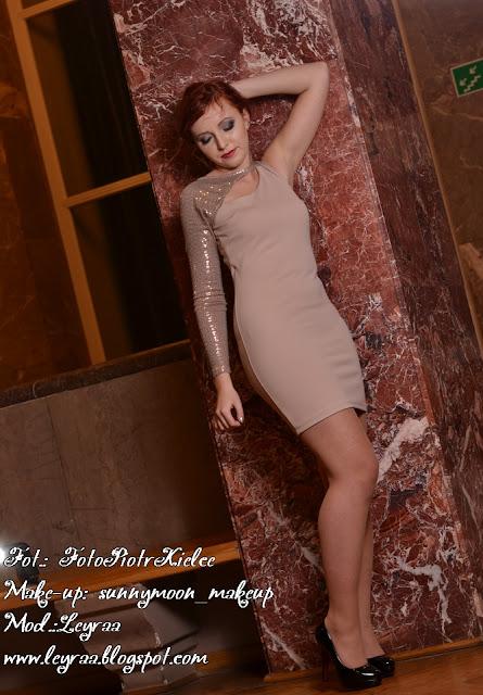 7.12.2016 Sesja w WDK Kielce Begie Dress Smokey-eye Glamour Sylwester style