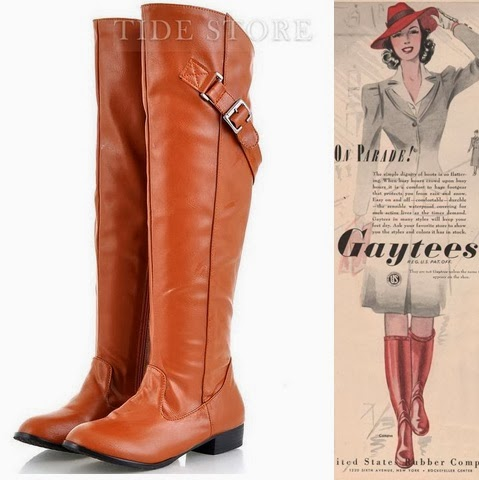cheap 1940s womens knee high gaytees boots under $50