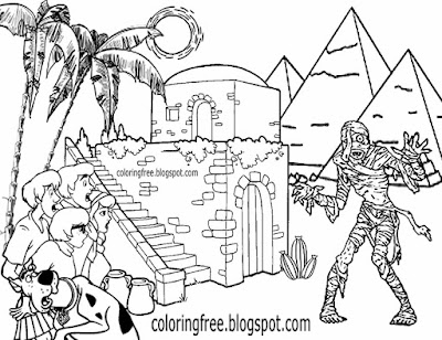 Desert crypt monster walking dead Egyptian mummy drawing Scooby Doo coloring pages for teen doodling