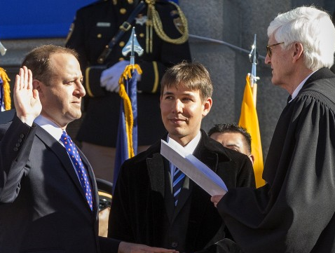 Jared Polis sworn in as Colorado's governor making him the first ever openly gay man to be elected governor in the US