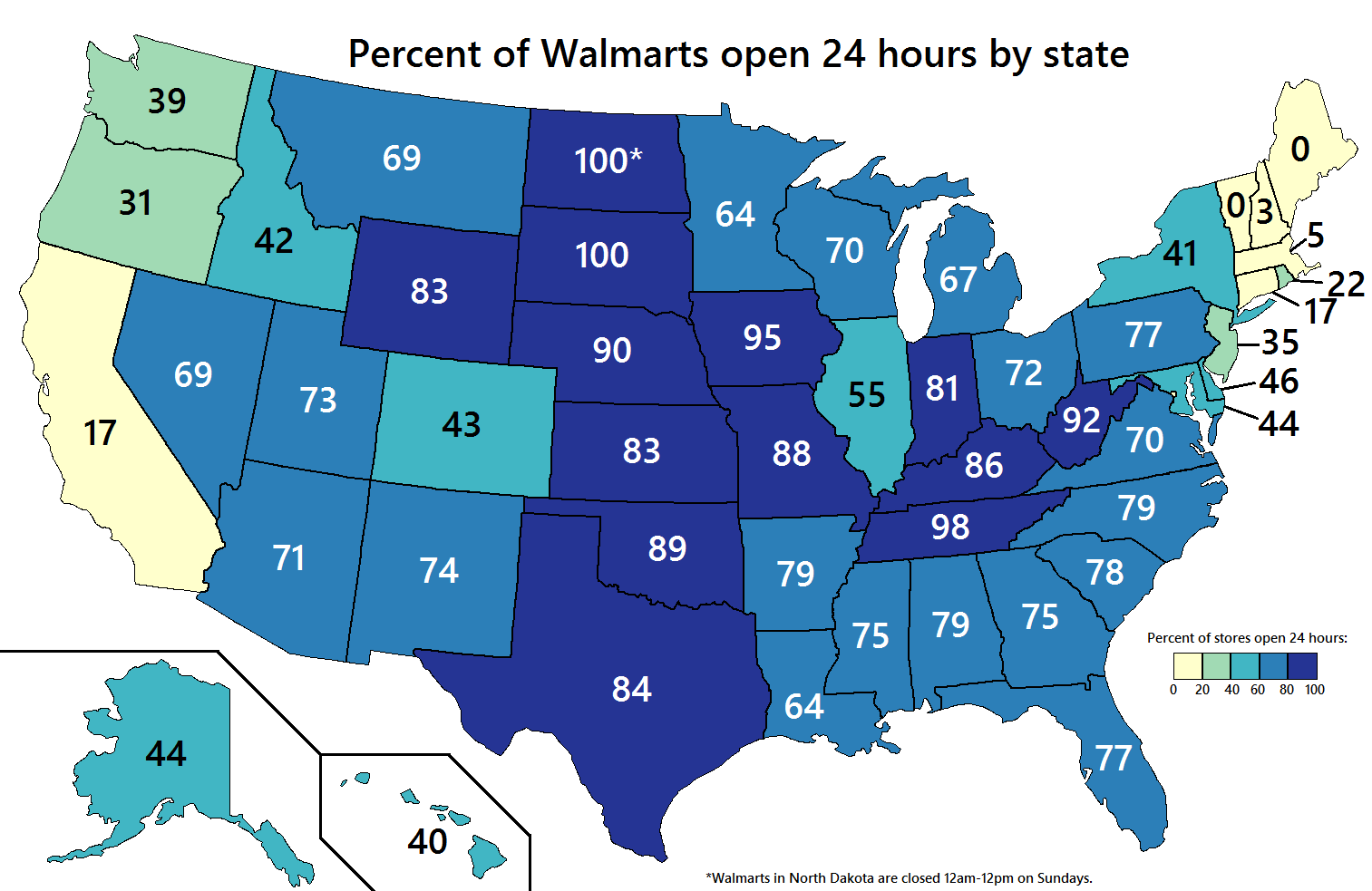 Percent of Walmart stores open 24 hours by US state