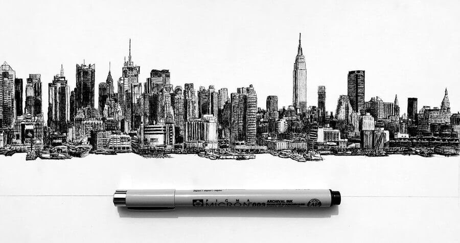 13-The-New-York-skyline-Architectural-Drawings-Henk-Jan-www-designstack-co