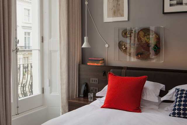 Guest room with balcony at The Laslett Hotel in Notting Hill in the heart of West London