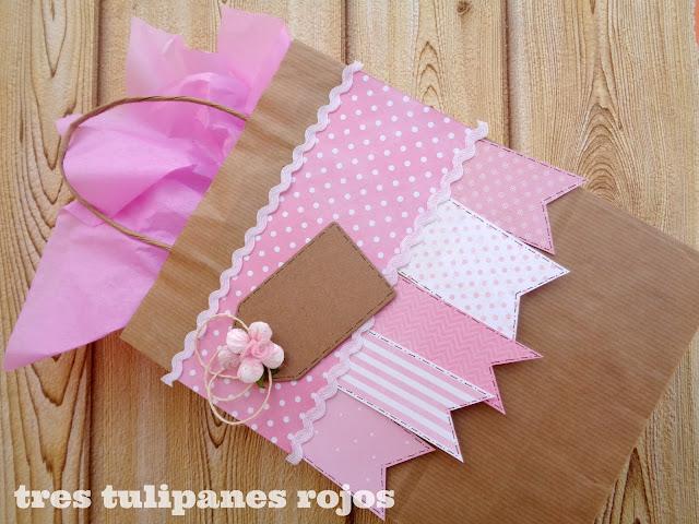 Packing en kraft y rosa