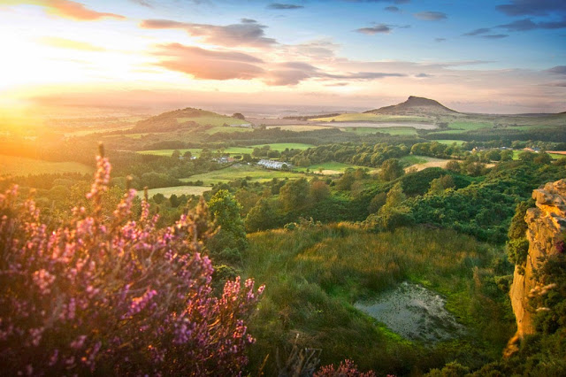 Roseberry Topping walk at sunset. From Cockshaw hill quarry, near Captain Cook's monument, teesside