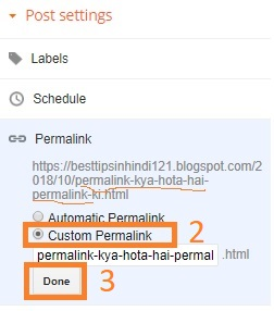 Permalink setting in Blogger
