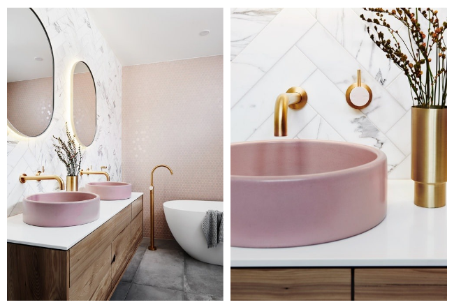 Decoración de estilo nórdico con colores suaves by Habitan2 | Precioso lavabo rosa