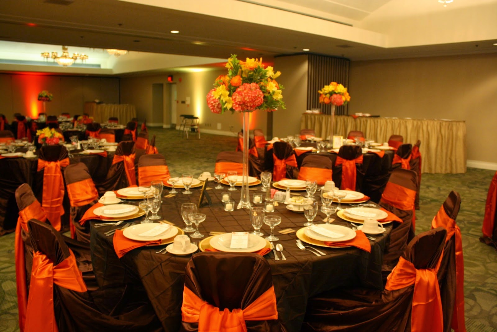 Ask The Caterer To Dress Tables And Chairs In Chocolate Brown Orange