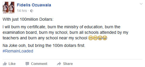 Lol. See what this Naija guy would do for $100m