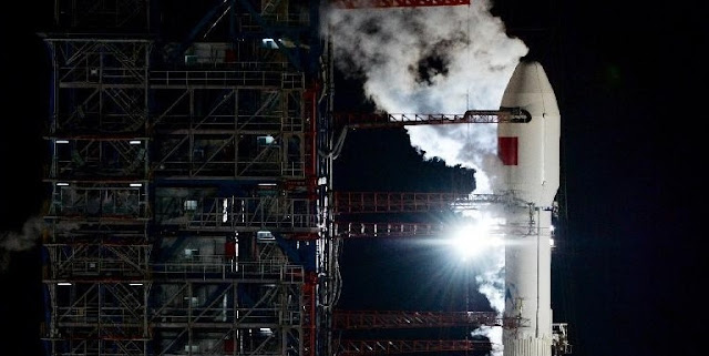 A Chinese Long March 3B rocket, carrying the first Communications Engineering Test Satellite (TXJSSY-1), awaits the launch on Sept. 12, 2015. Photo Credit: News.cn