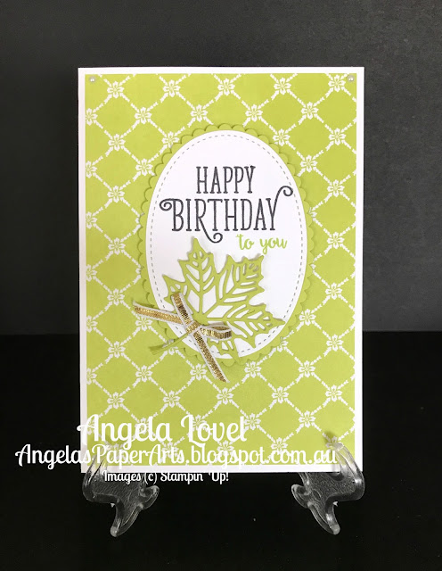 Stampin' Up! Lemon Lime Twist Happy Birthday Gorgeous card by Angela Lovel, Angela's PaperArts