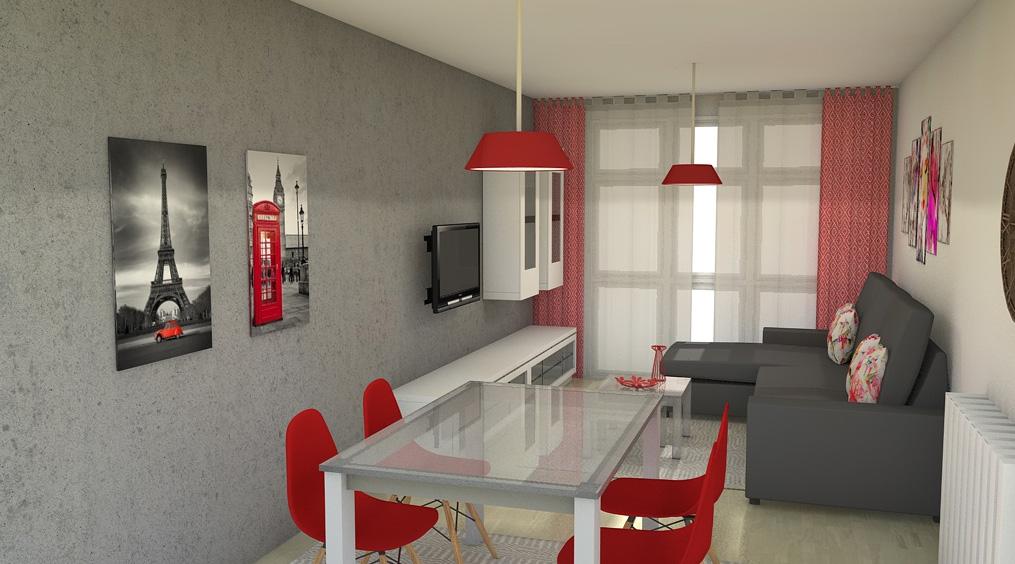 Arantxa amor decoraci n sal n comedor en rojo y gris - Que cuadros poner en el salon ...