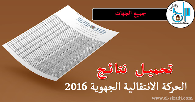 نتائج الحركة الانتقالية الجهوية 2016 لجميع الجهات