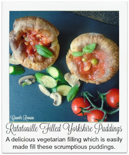 Filling these wonderful Yorkshire Puddings is this flavoursome and easy to make ratatouille.  They're wonderful served alongside a few new potatoes and perhaps a couple of vegetarian sausages.