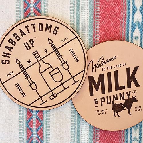 Shabbattoms Up Coasters | Land of Honey