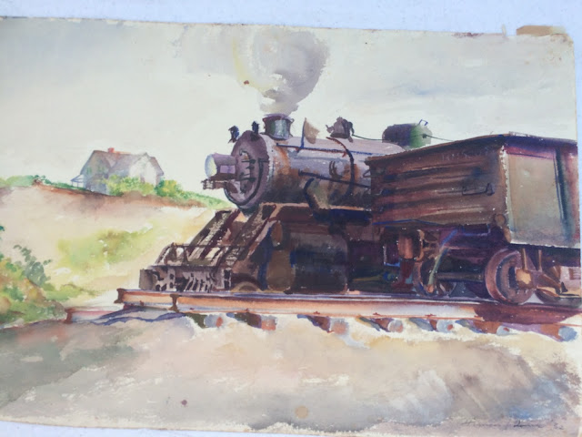 Train image, Francis Quirk Artist,  Train Engine Water Color Image, Watercolor artist Quirk