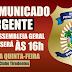 COMUNICADO URGENTE: Sindasp-RN altera horário de Assembleia Geral desta quinta-feira