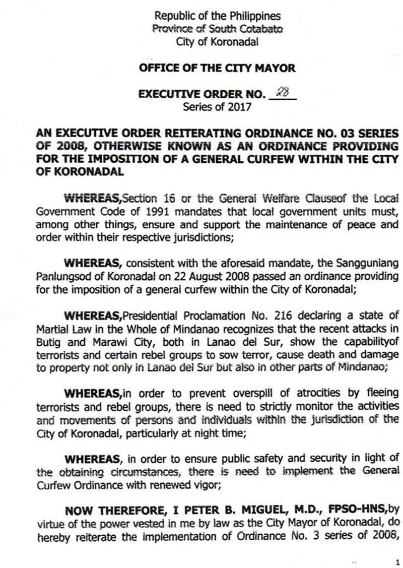 City of Koronadal imposes curfew, no ID no entry policy