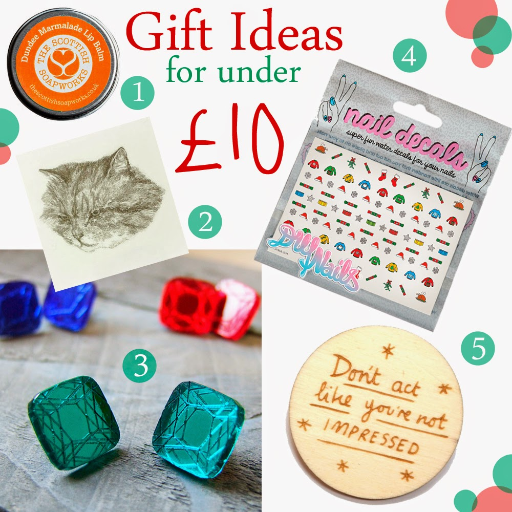 Christmas Gift Guide, Christmas gift ideas, gifts for under a tenner, present ideas for under £10, stocking fillers, shop small secret santa, secret santa gift ideas, the scottish soapworks, Dundee Marmalade Lip Balm, Hello Harriet, cat tattoo, Runaway Fox, sparkly earrings, DIY nails, christmas day nail decals, Kate Rowland, Hannah Zakari, Anchor Man brooch