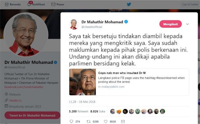Banjir Pujian! PM Mahathir Tak Setuju Polisi Tangkap Orang Yang Mengkritiknya di Fb
