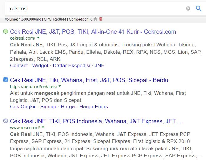 Google cek resi