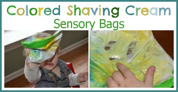 colored shaving cream sensory bags