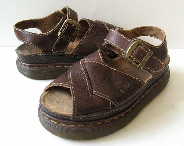 Doc Dr Marten Brown Leather Platform Sandals Made In
