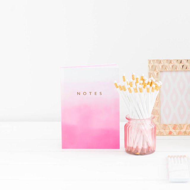 ombre pink notebook