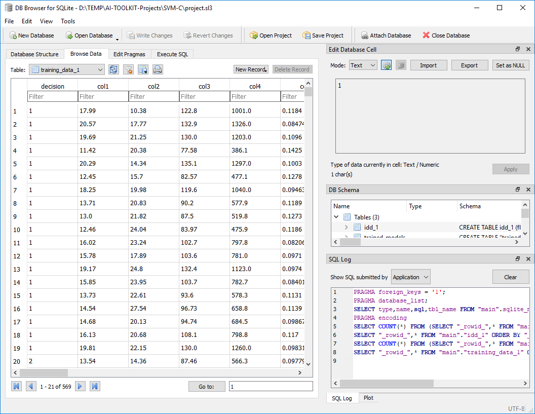AI-TOOLKIT Database Editor.